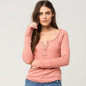 Free People Sugar And Spice Henley Tee Top  M